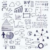 Pijlen en bedrijfselementen, grafische informatie De reeks van krabbelzaken brengt de elementen van de informatiegrafiek op een b Stock Foto's