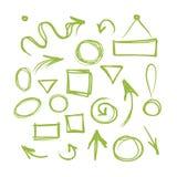Pijlen en kaders, schets voor uw ontwerp stock illustratie