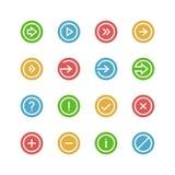 Pijlen en symbolen gekleurde pictogramreeks Royalty-vrije Stock Afbeelding