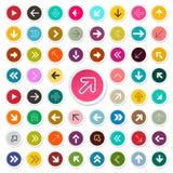 Pijlen in Kleurrijke Cirkels worden geplaatst die Vectorpijlpictogrammen vector illustratie