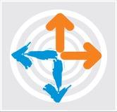 Pijlen met cirkel Royalty-vrije Stock Afbeeldingen