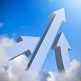 Pijlen omhoog in blauwe hemel royalty-vrije illustratie
