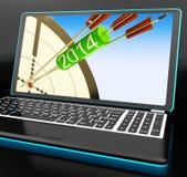 2014 pijlen op Laptop die Festiviteiten tonen royalty-vrije illustratie