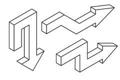 pijlen Outine isometrische pictogrammen Royalty-vrije Stock Foto
