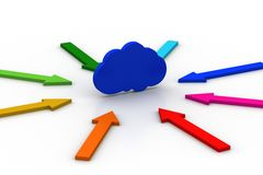 Pijlen rond de wolk worden geschikt die Stock Afbeelding