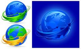 Pijlen rond planeet Royalty-vrije Stock Afbeelding
