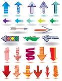 Pijlen in verschillende stijlen en vormen op het wit Royalty-vrije Stock Afbeelding