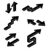 pijlen Zwarte isometrische pictogrammen Stock Afbeeldingen