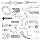 Pijlenpictogrammen geplaatst schets Royalty-vrije Stock Afbeelding