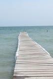 Pijler bij strand stock afbeelding