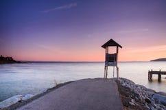 Pijler bij zonsopgang, oostelijk Thailand Stock Foto's