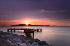 Pijler bij zonsopgang, oostelijk Thailand Royalty-vrije Stock Afbeeldingen