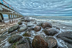 Pijler en Oostzee. Landschap. Royalty-vrije Stock Afbeelding