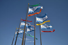 Pijler 39 golvende vlaggen in San Francisco, CA Stock Afbeeldingen