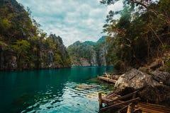 Pijler in Meer Kayangan, Filippijnen Stock Afbeelding