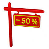 Pijler met tekenkorting - 50% Royalty-vrije Stock Foto