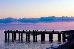 Pijler op de kust van de Zwarte Zee, Sotchi, Rusland stock fotografie