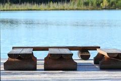 Pijler op het meer Royalty-vrije Stock Foto's