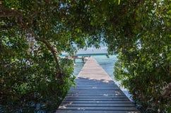 Pijler op het meer in Bacalar, Mexico Stock Afbeeldingen
