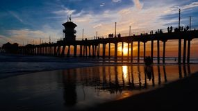 Pijler op Huntington Beach stock fotografie