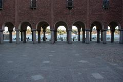Pijlermening van het stadhuis van Stockholm stock afbeelding