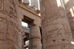 Pijlers in Karnak in Egypte Stock Fotografie