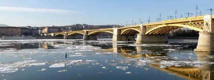 Pijlers van Margaret Bridge, Boedapest op de ijzige Donau stock foto's