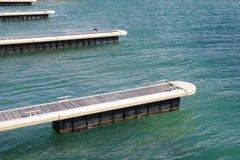 Pijlers voor boten in de Zwarte Zee, Bulgarije stock fotografie