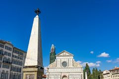 Pijlervoorgevel Front Santa Maria Novella Church Florence Italy royalty-vrije stock afbeeldingen