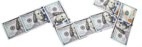 Pijlgrafiek die het inkomen van de rekeningen van honderd dollars tonen Op een witte achtergrond royalty-vrije stock foto