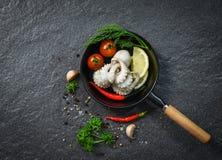 Pijlinktvis die de panoctopus van de zeevruchtenplaat met kruiden en kruiden de citroenknoflook en dille van de Spaanse peperstom royalty-vrije stock afbeelding