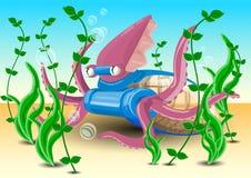 Pijlinktvis in zijn milieu Pijlinktvis die op de zeebedding rusten royalty-vrije illustratie