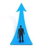 Pijlteken en bedrijfsmens Stock Foto