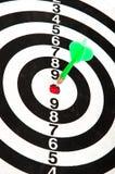 Pijltje in bullseye van dartboard Royalty-vrije Stock Fotografie