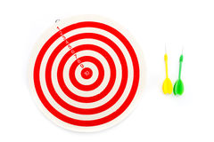 2 pijltje groene en gele kleur en 1 doel Royalty-vrije Stock Afbeeldingen
