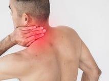 Pijn in de Hals Mens met rugpijn Geïsoleerd op witte backgroun royalty-vrije stock afbeeldingen