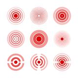 Pijn rode ringen aan teken pijnlijke vrouw en man lichaamsdelen, hals, beenderen, spier en hoofdpijn Medische vectorreeks stock illustratie