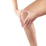 Pijn in vrouwenknie Stock Foto