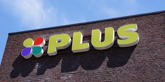 Plus supermarket in the Netherlands. Pijnacker, the Netherlands. May 2018. Plus supermarket name and logo on a building Stock Images