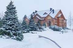 Pijnboom in de sneeuw dichtbij het huis Stock Afbeeldingen