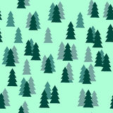Pijnboomboom Forest Silhouette Seamless Pattern op Groene Achtergrond Royalty-vrije Stock Afbeelding