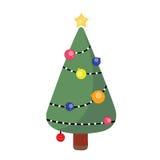 Pijnboomboom op Kerstmisdag Stock Foto
