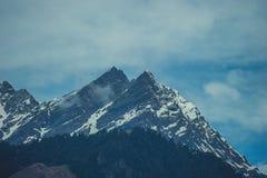 Pijnboomhout op bergen de achtergrond van Himalayan en hemel met wolken Royalty-vrije Stock Fotografie