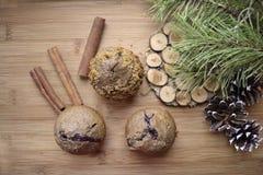Pijnboomtakken met kegels en cak Stock Foto
