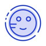 Pijnlijk, bestudeert Emojis, School, het Blauwe Pictogram van de Gestippelde Lijnlijn vector illustratie