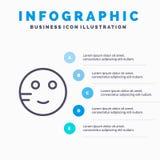 Pijnlijk, Emojis, School, het pictogram van de Studielijn met infographicsachtergrond van de 5 stappenpresentatie vector illustratie