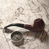 Pijp & kompas Royalty-vrije Stock Foto
