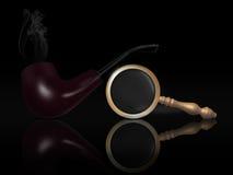 Pijp en meer magnifier royalty-vrije illustratie