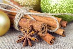 Pijpjes kaneel met een steranijsplant op een achtergrond van Kerstmis D Stock Afbeeldingen