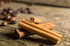 Pijpjes kaneel met koffiebonen Stock Afbeelding